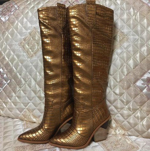 f15f7f0b8d ... Crocodile Pattern ladies knee high boots pointed toe chunky wedge heel  short. Hover to zoom