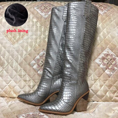 e52dc5d598 ... Image of Prova Perfetto gold silver Crocodile Pattern ladies knee high  boots pointed toe chunky wedge ...