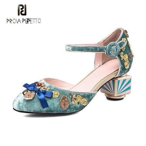 Image of Prova Perfetto luxury design mary janes shoes fashion metal decor women pumps round toe stripe print strange high heels velvet