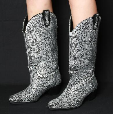 Prova Perfetto luxury full rhinestone knee boots women pointed toe chunky heel women bling bling crystal long boots runway style