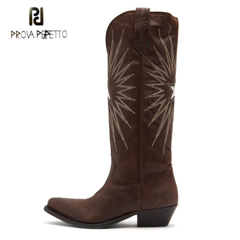 Image of Prova Perfetto new style electric embroider knee high boots women black brown real leather pointy toe chunky heel cowboy boots