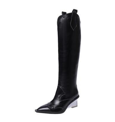 Prova Perfetto new style transparent crystal wedge heel knee high boots pointed toe slip on genuine leather western boots women