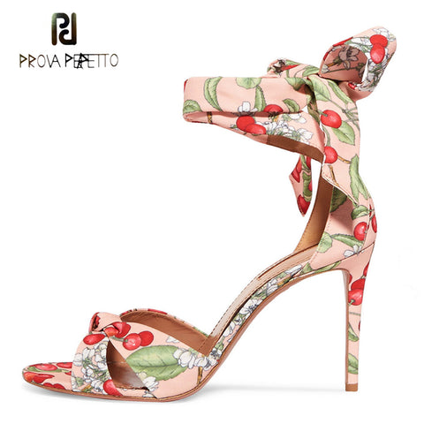 Prova Perfetto newest high heels gladiator sandals for women fashion cherry print fabric ankle strap party shoes stiletto heels