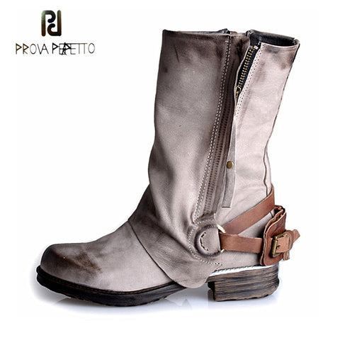 Prova Perfetto retro style genuine leather women short boots side zipper back belt buckle thick bottom do old martin boots mujer