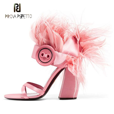 Prova Perfetto runway style red pink feather gladiator sandals women luxury satin buckle strap high heel party shoe women sandal