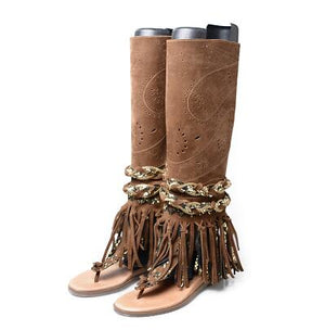 Prova Perfetto suede fringe clip toe sandals boots women carving hollow side zip flat heel summer boot females gladiator sandals