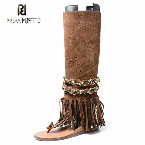 Image of Prova Perfetto suede fringe clip toe sandals boots women carving hollow side zip flat heel summer boot females gladiator sandals