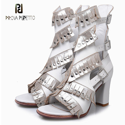 Image of Prova Perfetto white genuien leather tassel rivet sandals buckle strap chunky high heel sandals boots for women gladiator shoes