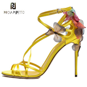 c613af297839 Prova Perfetto yellow colorful butterfly knot decor women sandals ankle  strap buckle open toe thin high ...