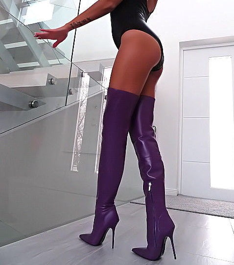 6529e8a03835 Hover to zoom · Purple Stretch Women Winter Thigh High Boots Leather Pointed  ...