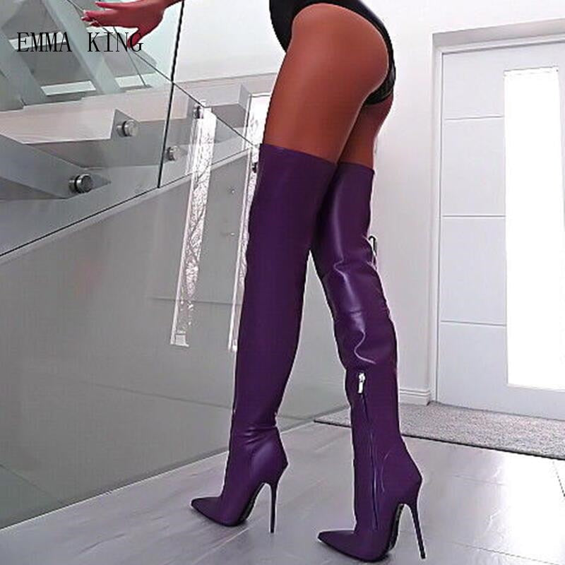 13615245e50 Purple Stretch Women Winter Thigh High Boots Leather Pointed Toe High Heels  Shoes Stilettos Sexy Ladies Over The Knee Long Boots