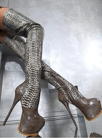Python Print Leather Platform Bottine Size 43 Fetish Shoes Woman 16CM High Heels Botas Over Knee Thigh High Stiletto Boots