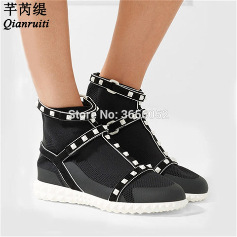 Qianruiti Knitted Stretch High Top Spiked Shoes Casual Ankle Botas Women Celebrity Platform Sock Boots Slip On Rivet Flat Shoes