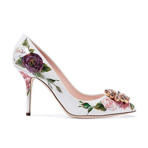 Qianruiti Luxury Brand Ladies Shoes Rose Print Leather Bridal Shoes Sexy High Heels Slingback Tacones Clear Crystal Flower Pumps