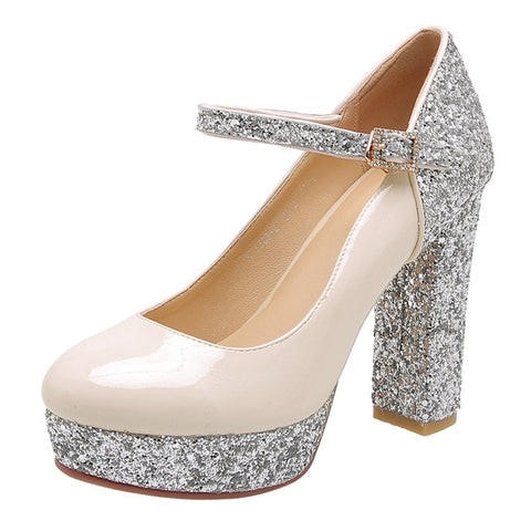RIBETRINI 2019 Spring Autumn Sexy Glitters Patent PU Women'S Pumps Platform High Heels Party Wedding Evening Shoes Woman 32-43