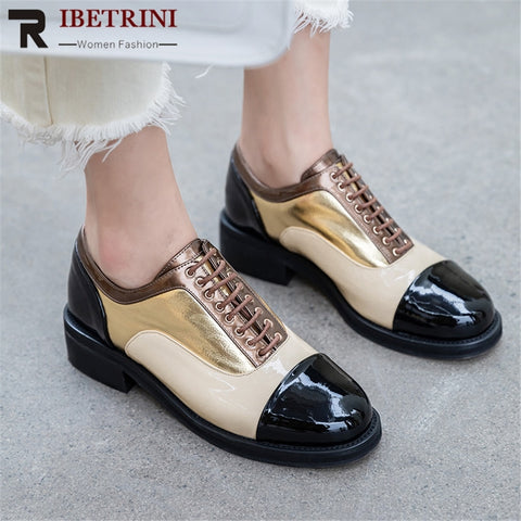 RIBETRINI Brand Design Cow Leather INS Hot Shoes Woman Pumps Female Lace Up Chunky Heels 3 Colors Pumps Woman Shoes Footwear