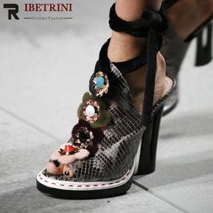 RIBETRINI Luxury Brand Design Runway Show Women Sandals Summer Large Size 34-43 Genuine Leather Women Shose Woman High Heels