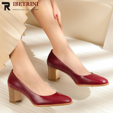 RIBETRINI New Top Quality Genuine Cow Leather Shoes Pumps Woman Lady High Heels Pumps Woman Summer Elegant Women Shoes Woman