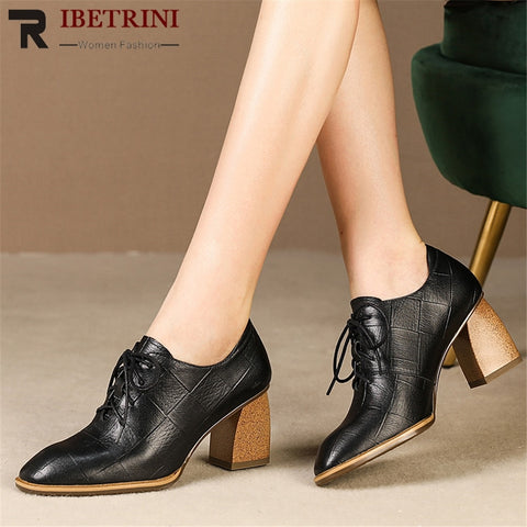 RIBETRNI New Fashion Big Size 34-42 Autumn Pumps women's Genuine Leather Ladies High Heels Women Shoes Woman Party Ol Shoes