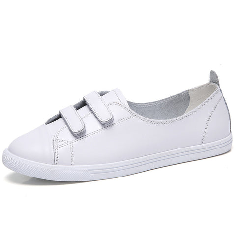 STQ 2019 Spring women flats shoes pin rivet lace up flat boat shoes woman white oxfords shoes for women Vulcanize Shoes 185