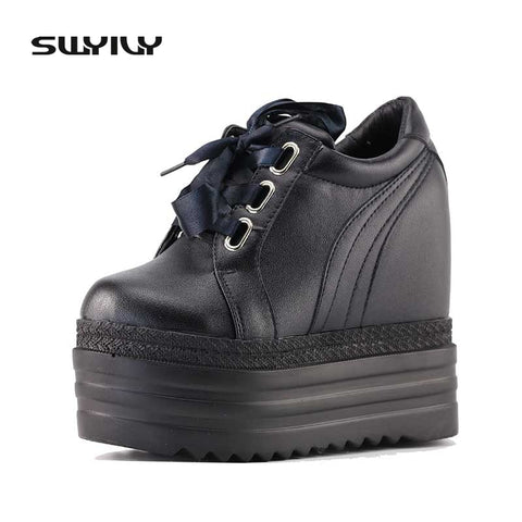 SWYIVY Women's Vulcanize Shoes Women Sneakers 2017 Platform 14cm Wedge Heel Women Sneakers White Female Casual Shoes 2018 Spring