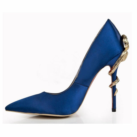 Satin Gold mental snake heel dress shoe women unique silk genuine leather pointed toe high heels pumps chaussures femme 2018
