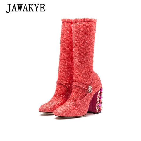 Sexy luxury Sock ankle boots for women Rhinestone chunky heels Rose Red Glitter short boots woman High heels wedding party Shoes