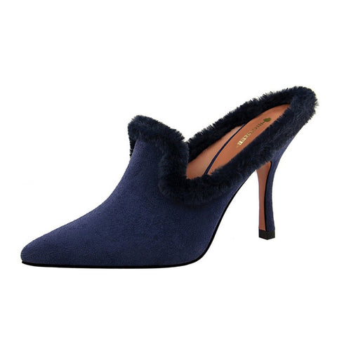Image of Shoes Woman Fashion Fur Pointed toe Mules Sexy High Heels Slides Ladies Flock Slippers Sandals zapatos mujer black red Blue