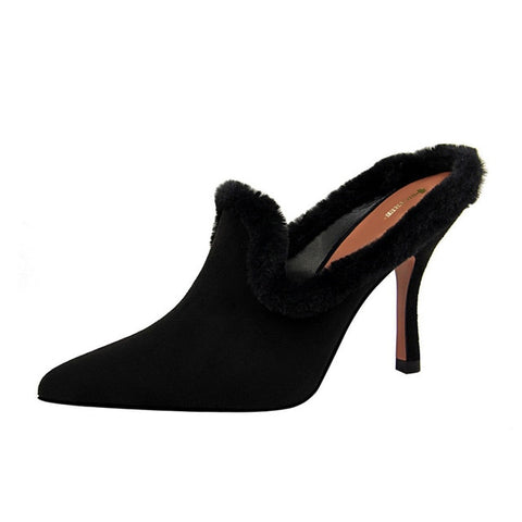 Shoes Woman Fashion Fur Pointed toe Mules Sexy High Heels Slides Ladies Flock Slippers Sandals zapatos mujer black red Blue