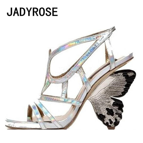 Silver Genuine Leather Women Sandals Gladiator Hollow Out Summer Shoes Woman Butterfly High Heels Party Wedding Shoes Stilettos