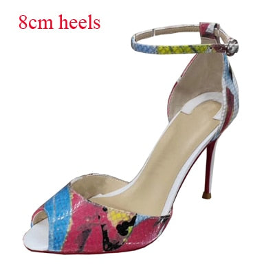 Size 34-45 Genuine Leather Open Toe Two-Pieces Ankle Strap Sweet Butterfly Print Stiletto High Heels Women Sandals Shoes