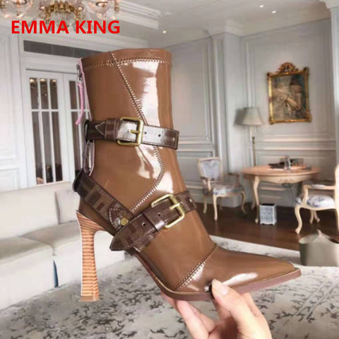 Solid Patent Leather Strange High Heels Ankle Boots For Women 2019 Pointed Toe Autumn Winter Fashion Back Zipper Short Booties