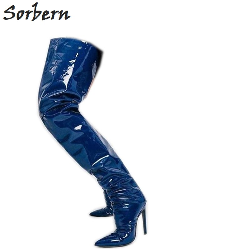 551a77aba702 Sorbern Blue Metallic Crotch Thigh High Boots For Women Extreme Long ...
