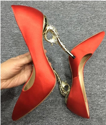 Image of Spring shallow dress pumps pointed toe solid silk satin goldfish metal high heels stilettos bridal wedding shoes women 2018 New