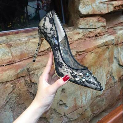 String Bead 7/10cm Heel Wedding Shoes Hot Sale Flower Poined Toe Thin Heels Mesh Pumps Sexy Bling Bling Flora Stud Dress Shoes