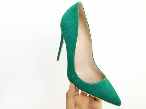 Suede Green Women Pumps for Wedding Pointed Dress Heels Sexy High Heels Shoes 12cm stilettos