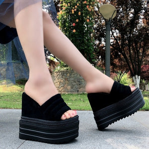 Summer 15CM female slippers 2018 Korean version of the wild non-slip soft bottom high heel slippers beach sandals and slippers