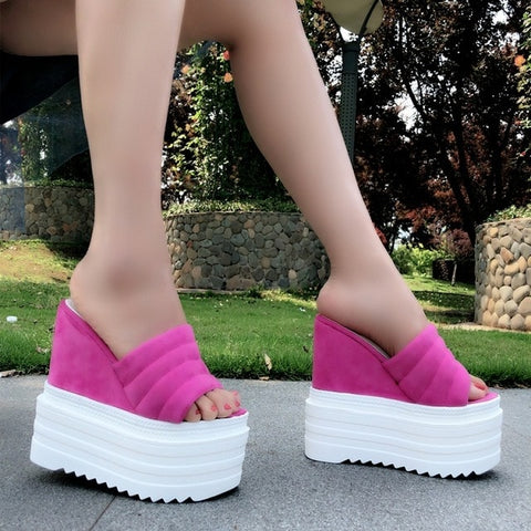 Image of Summer 15CM female slippers 2018 Korean version of the wild non-slip soft bottom high heel slippers beach sandals and slippers