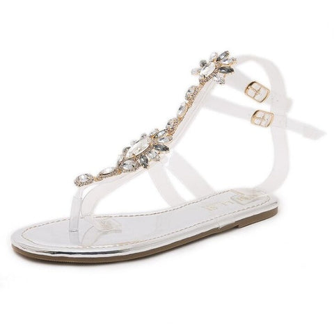 Summer 2019 Size 35-43 Bohemian Women Sandals Gladiator Roman Strappy Rhinestone Woman Shoes Transparent Tape Flat Sandals H231