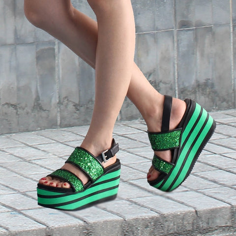 Summer Foam Platform Sole Gladiator Sandals Women Bling Bling Straps Mixed Colors Stripe Wedges Heel Shoes Woman Sequins Sandals
