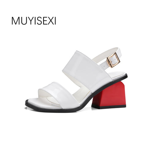 Image of Summer Genuine Leather Gladiator Sandals Shoes Red High Heels Open Toe Shoes Woman Dress Party Sandals plus size KAKX04 MUYISEXI