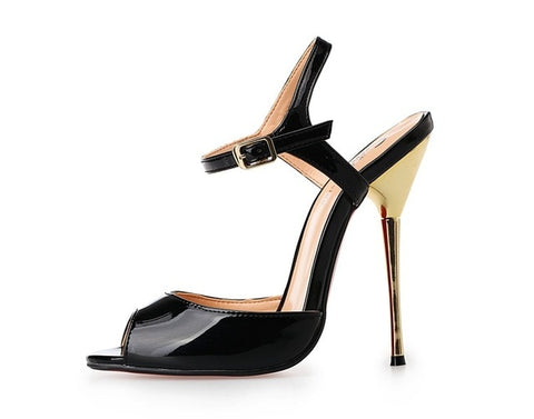 Image of Summer Model T Stage Catwalk 2018 Women Shoes Sandals Metal Thin Heels High heel 13.5cm Drag Queen CD Shoes Plus Size 40-50