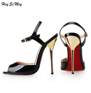 Summer Model T Stage Catwalk 2018 Women Shoes Sandals Metal Thin Heels High heel 13.5cm Drag Queen CD Shoes Plus Size 40-50