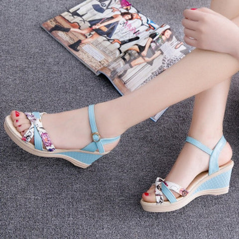 Image of Summer Sandalia Feminina Sandalias De Verano Para Mujer High Heels Ladies Beach Shoes Wedges Shoes for Women Sandalias Mujer