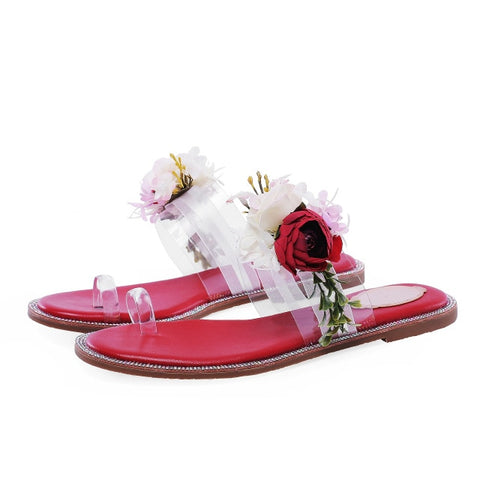 Summer Sweet 3D Rose Flowers Slipper Women Lucency PVC Crystal Studs Flat Heels Slides Thong toe Sandalias Shoes