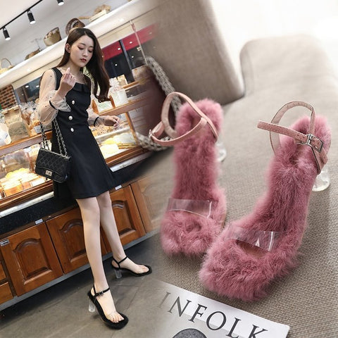 Image of Summer Transparent Shoes Sandal Women 2019 Sapato Feminino Ladies Shoes with Heels Fur Jelly Sandals Red Woman Sandalias Mujer