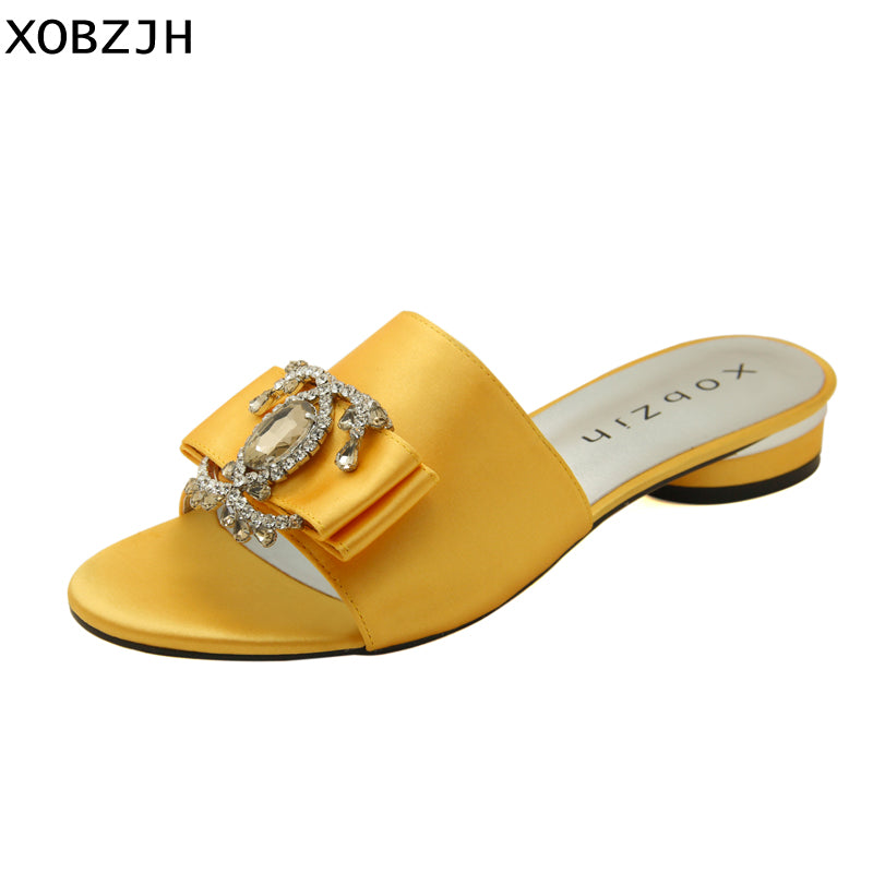 de54e6aecb Summer Women Shoes Flat Sandals Luxury Ladies Rhinestone Shoes Woman 2019  Red Leather Designer Silk Sandals Slippers Size 11