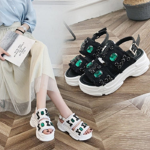 Summer new Korean fashion casual shoes wild flat sandals open toe beach shoes