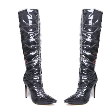 Trend Patent PU Leather PVC Knee High Boots Fashion Pointed Toe Stiletto Women Shoes 2018 Sexy Nightclub Thin High Heel Big Size