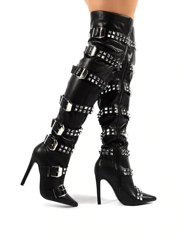 Women Fashion Thigh High Buckle Strap Boots Blingbling Crystal Over The Knee Boots Women Runway Rivet Buckle Gladiator Shoes